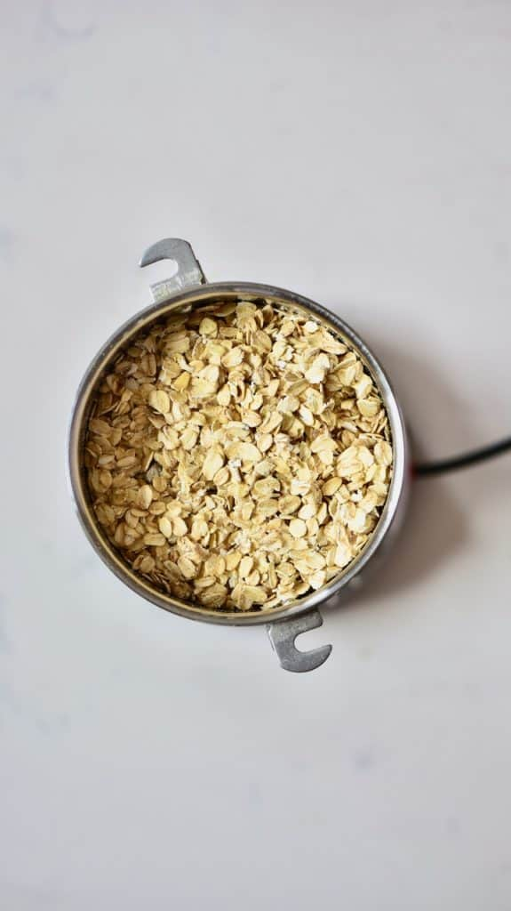 Oats in a grinder