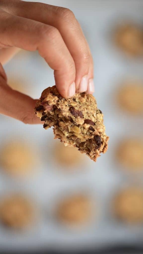 Baked oat hazelnut chocolate cookie - breakfast banana oatmeal cookies