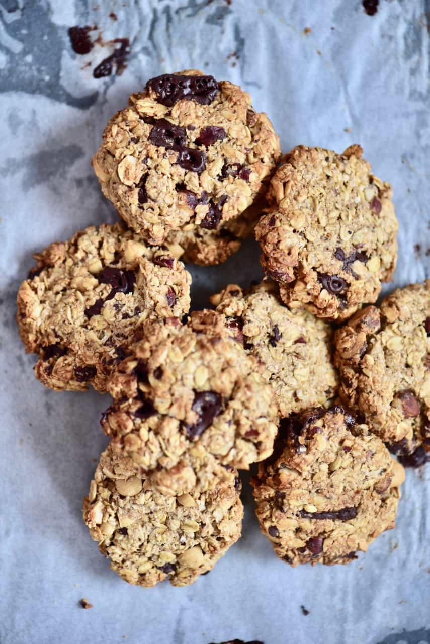 Baked oat hazelnut chocolate cookies