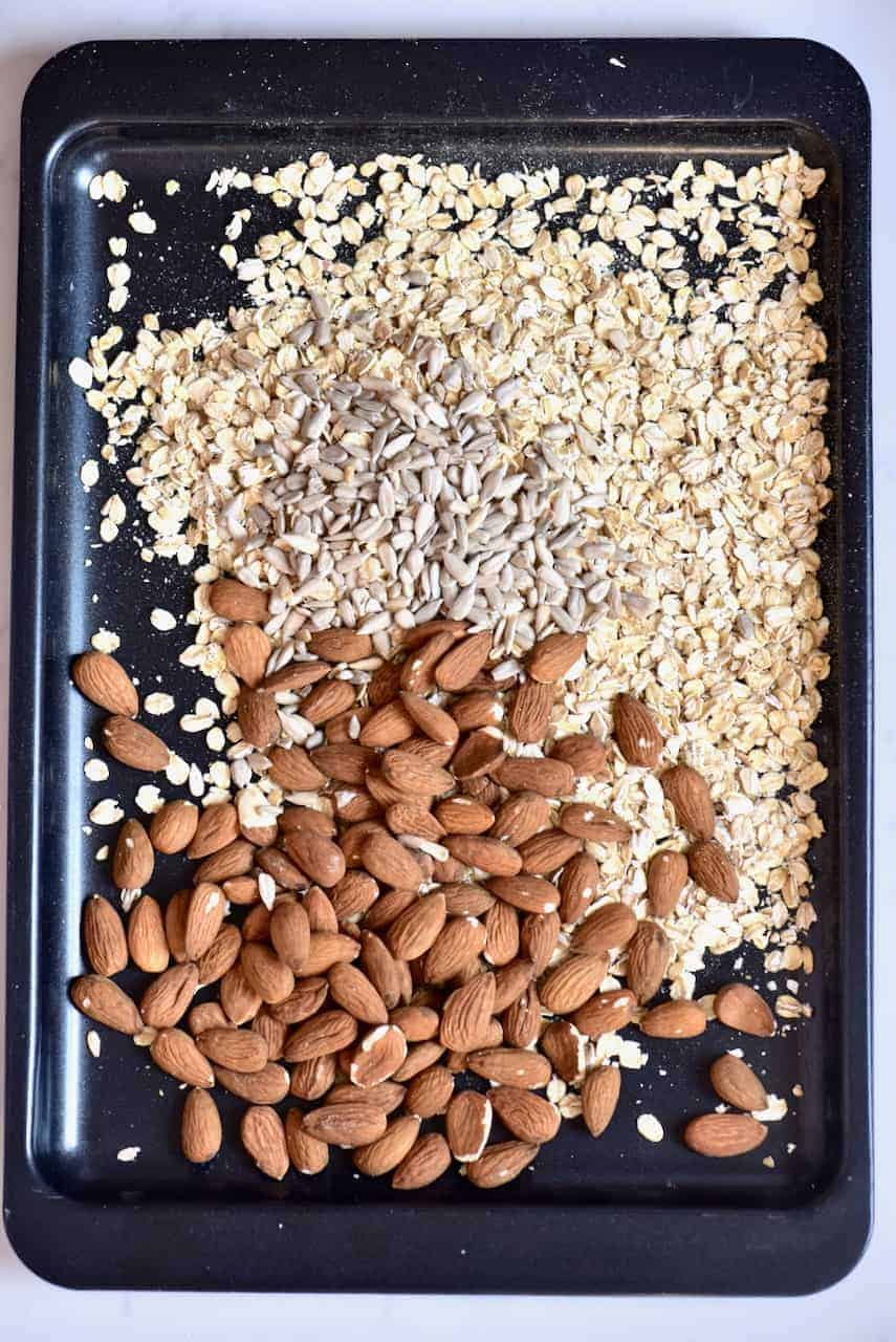 Almonds sunflower seeds and oats