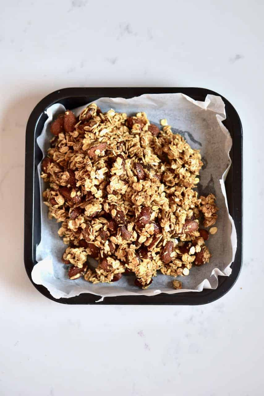 Granola mix in a square tray