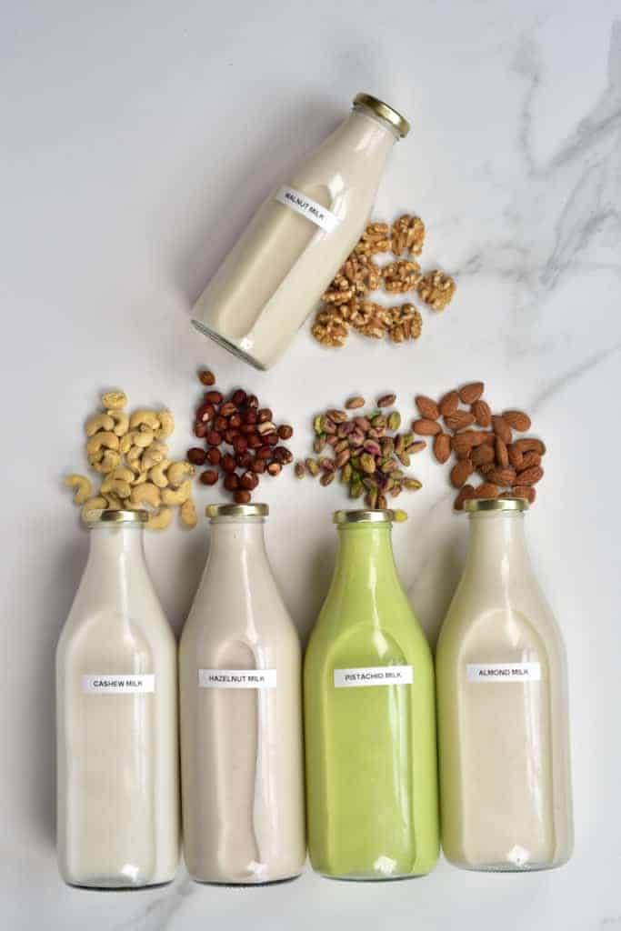 Homemade dairy-free nut milks
