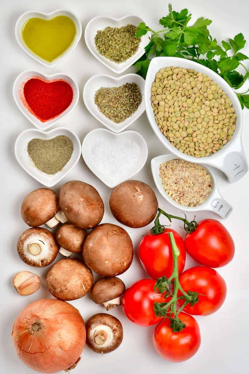 Lentil Meatballs ingredients
