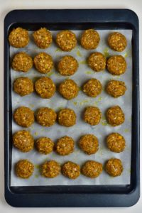 Lentil meatballs sprinkled with oil