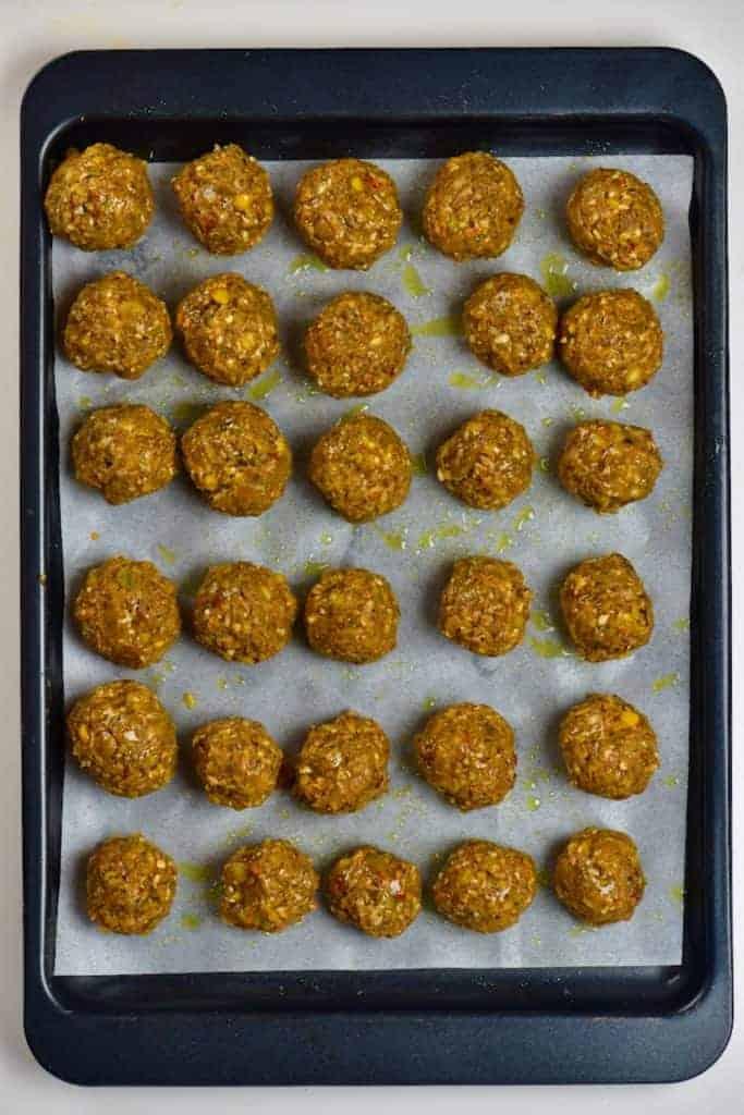 Lentil meatballs sprinkled with oil