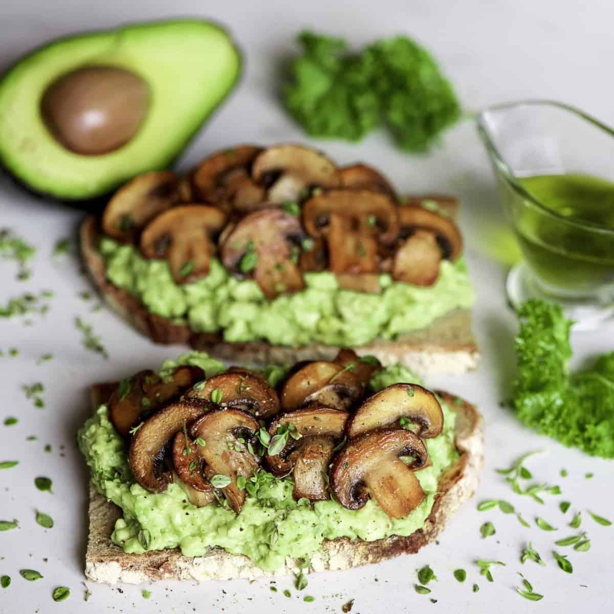Mushroom avo toast