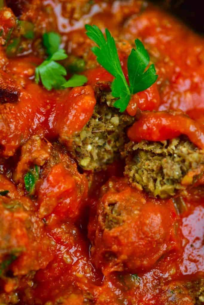 Open lentil meatball tomato sauce and parsley