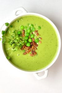 Pea soup topped with peas