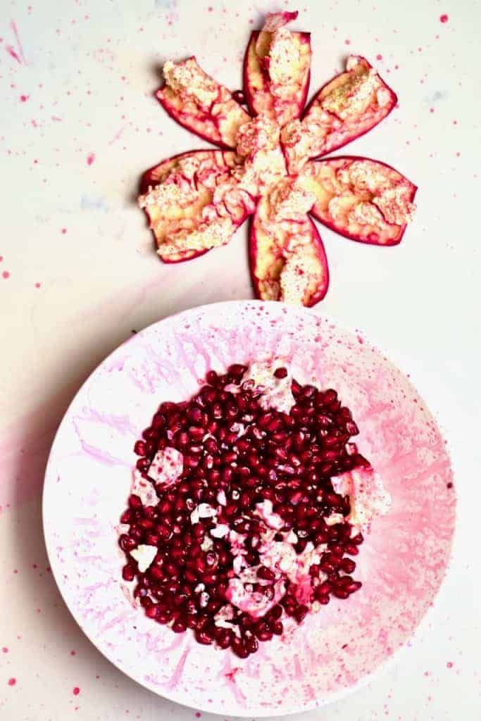 Deseeded pomegranate with seeds and flesh