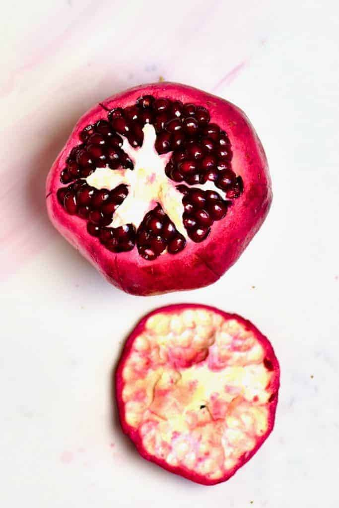 Pomegranate with open top