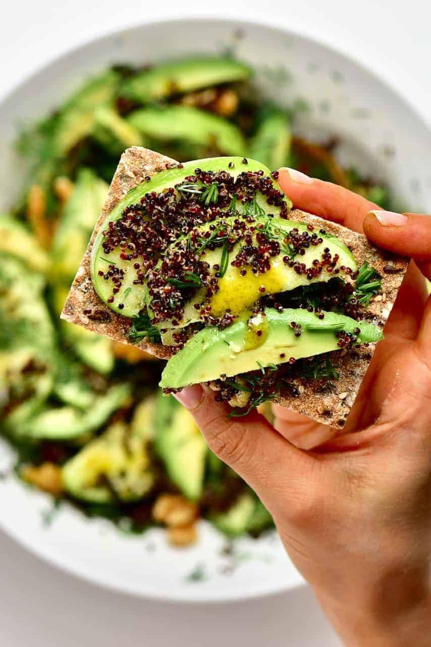 Apple avocado salad on toast