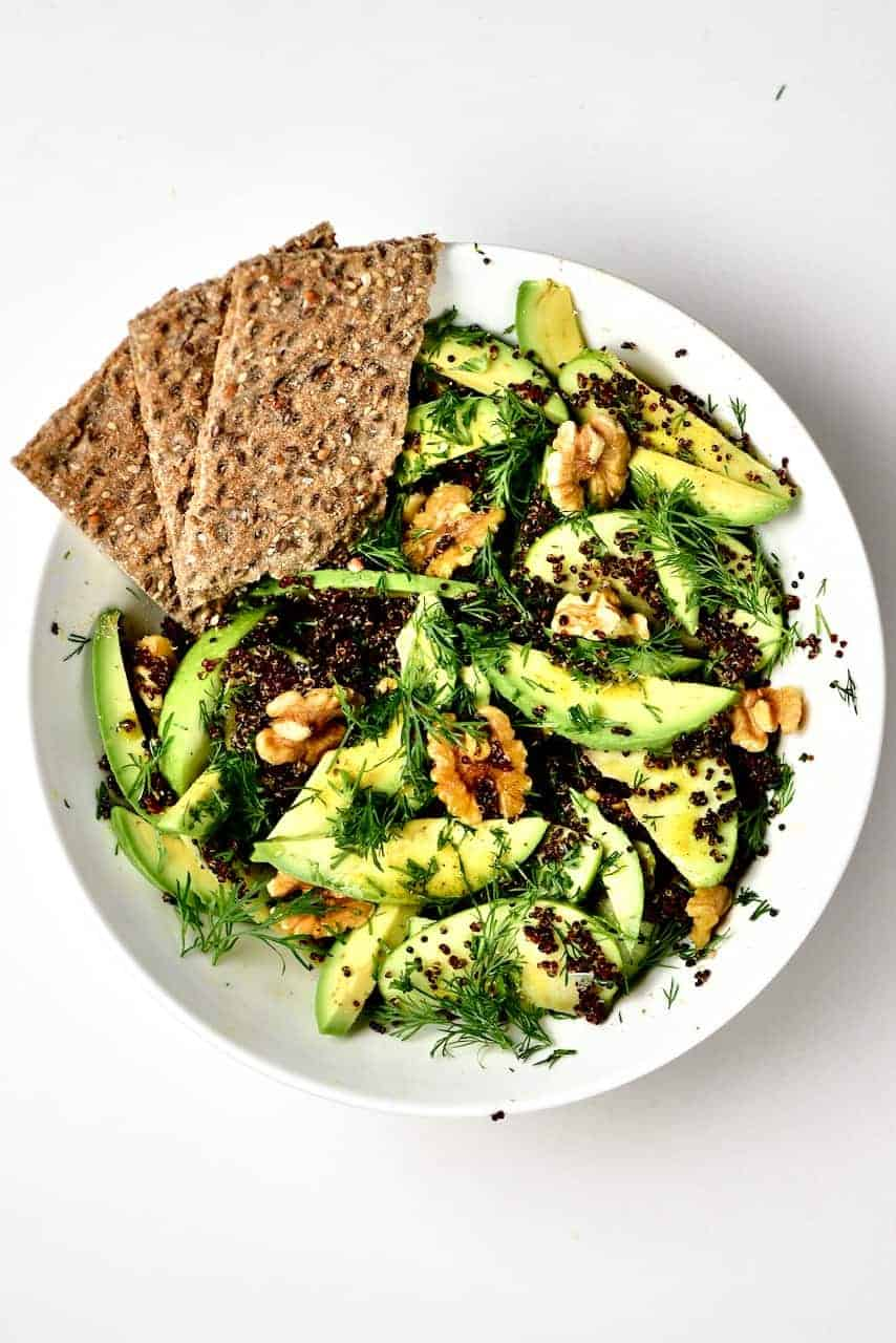 quinoa apple avocado salad and crackers