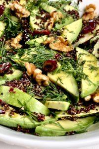 Close up of Apple avocado quinoa salad