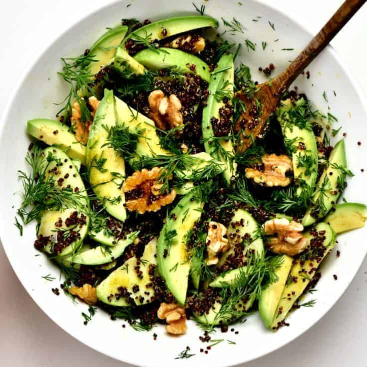A fresh, healthy gluten free, high-fibre, high-protein salad made up of quinoa, apples, avocado and walnuts- A nutritious plant based dish as a side salad, main and perfect for meal prep