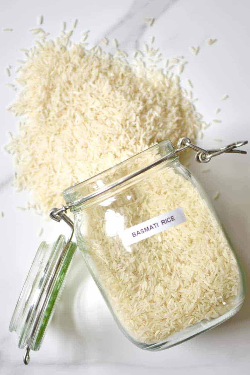Rice spilling from a jar