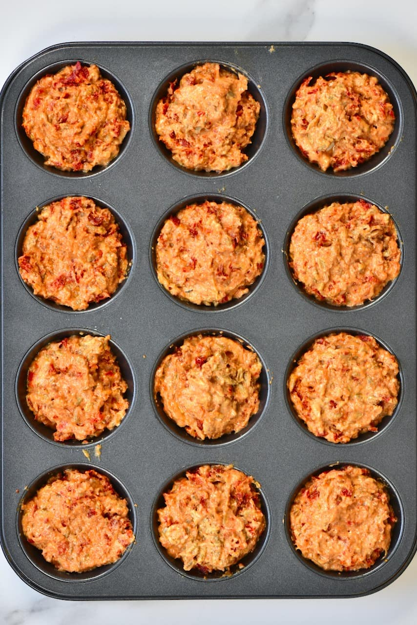 Savoury Cupcake in a baking tray