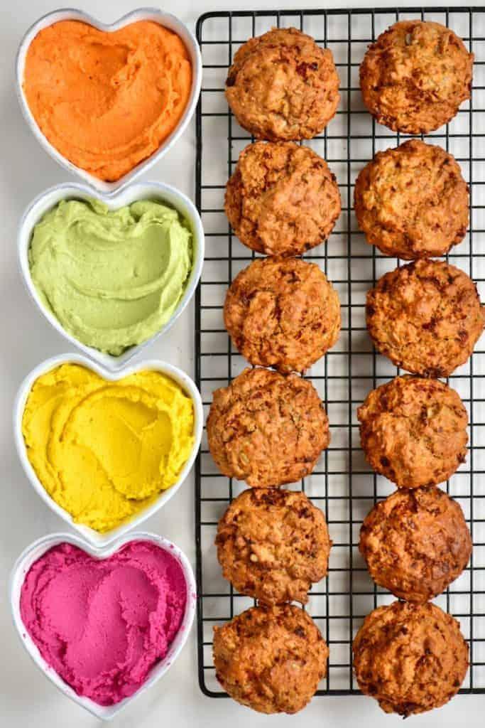 Savoury Cupcakes and rainbow hummus