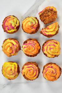 Savoury Cupcakes and rainbow hummus frosting