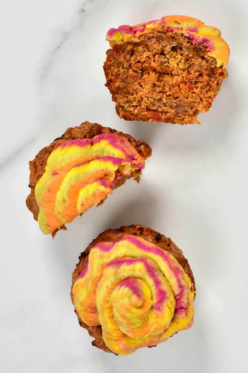 Savoury Cupcakes frosted with hummus