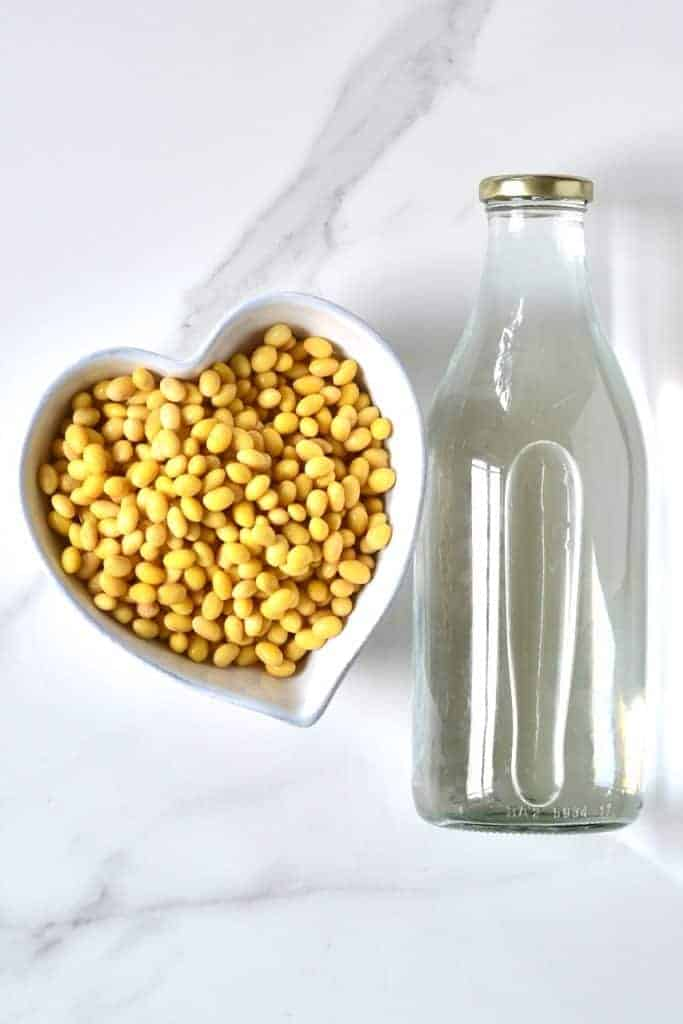 Soy beans and a bottle of water
