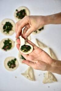 Making the Spinach Fatayer