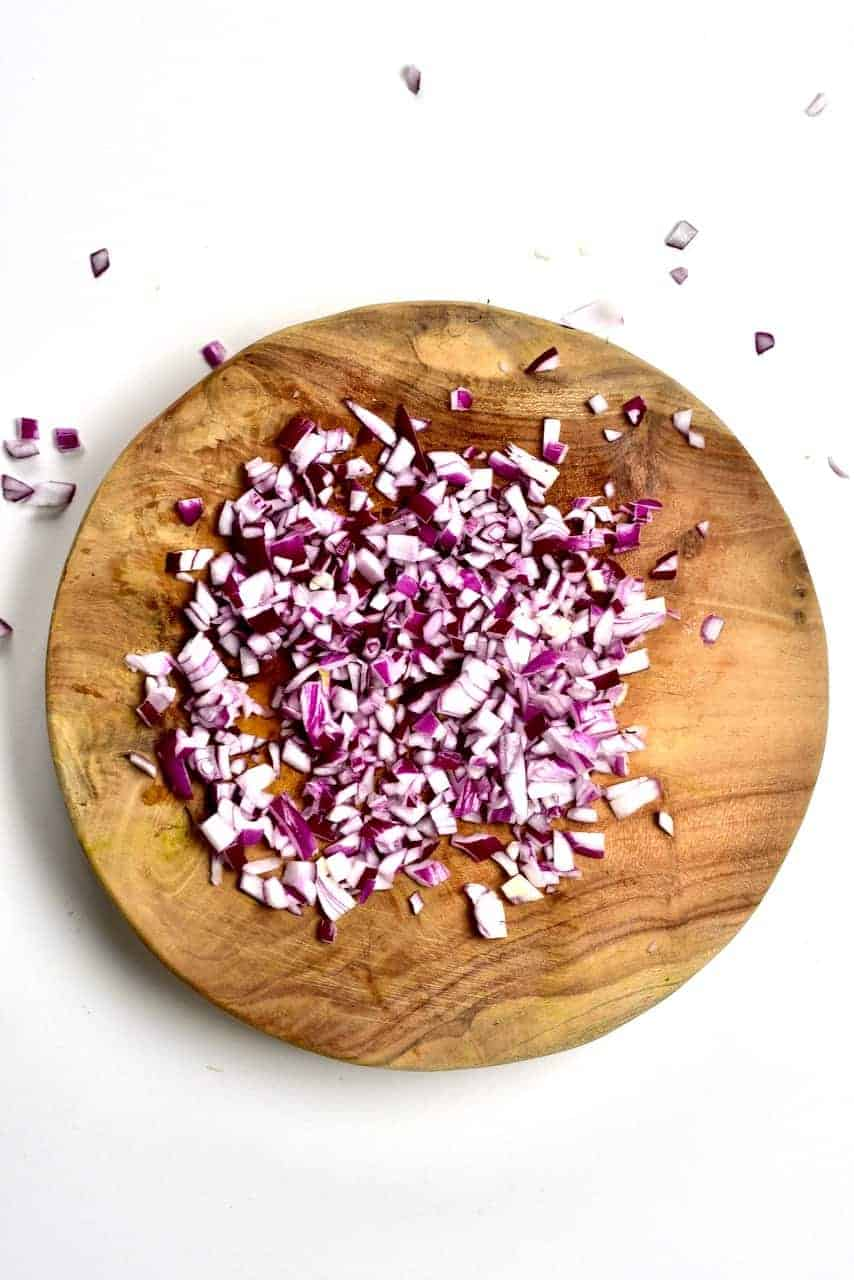 Chopped onion on a cutting board