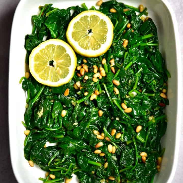 Spinach sautée with lemon