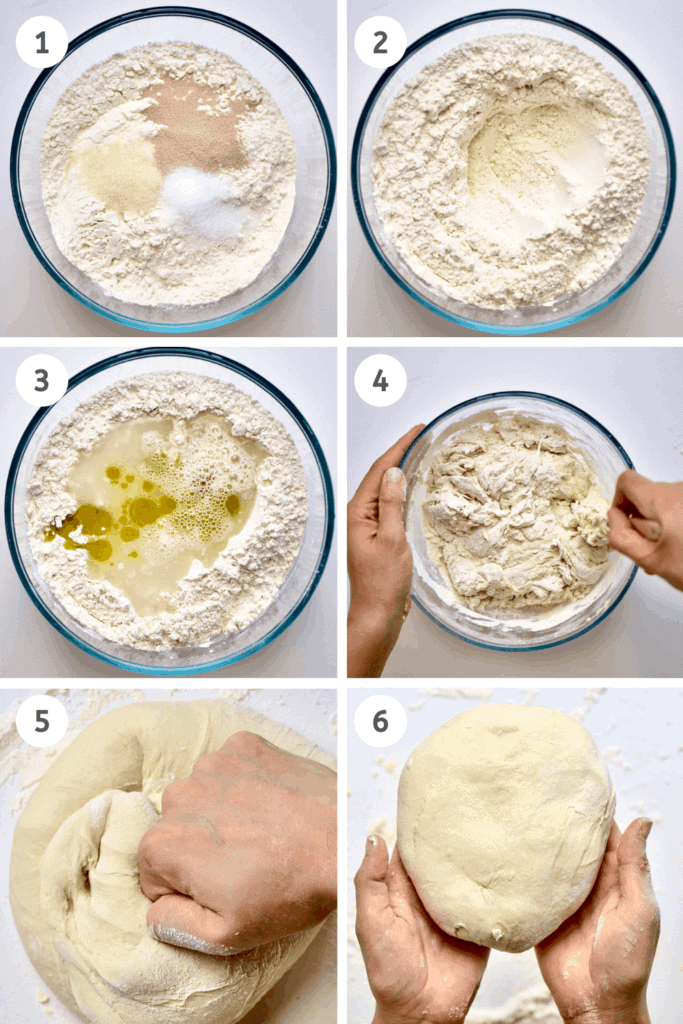Spinach Fatayer steps to making the dough