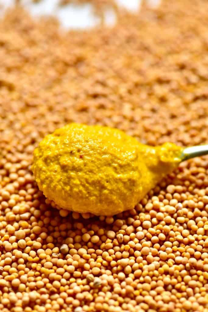 Spoonful of mustard and seeds