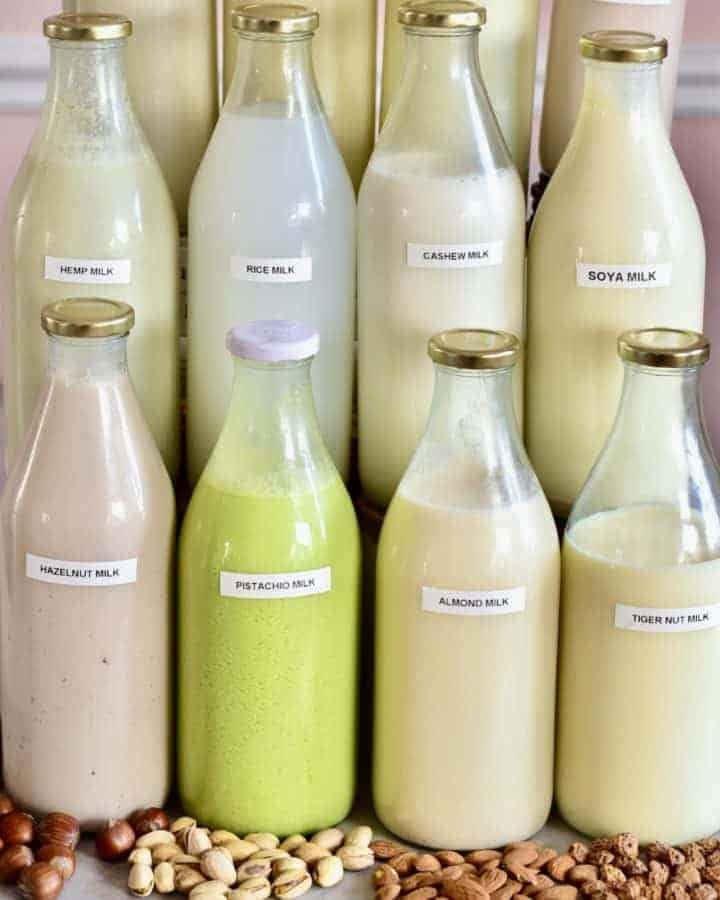 Square photo of homemade milks