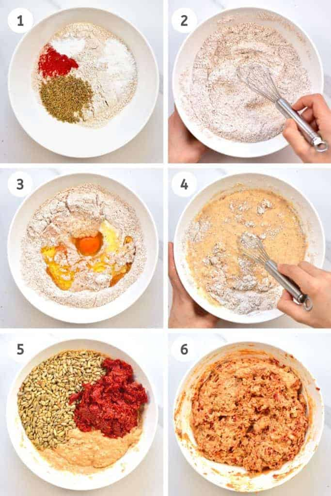 Steps for making savoury cupcakes