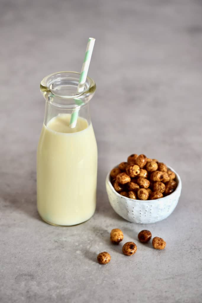 Tigernut Milk in a small bottle with straw
