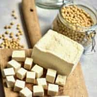 Square image of homemade tofu
