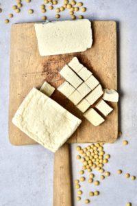 Cubed homemade tofu