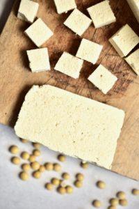 Cubes of homemade tofu