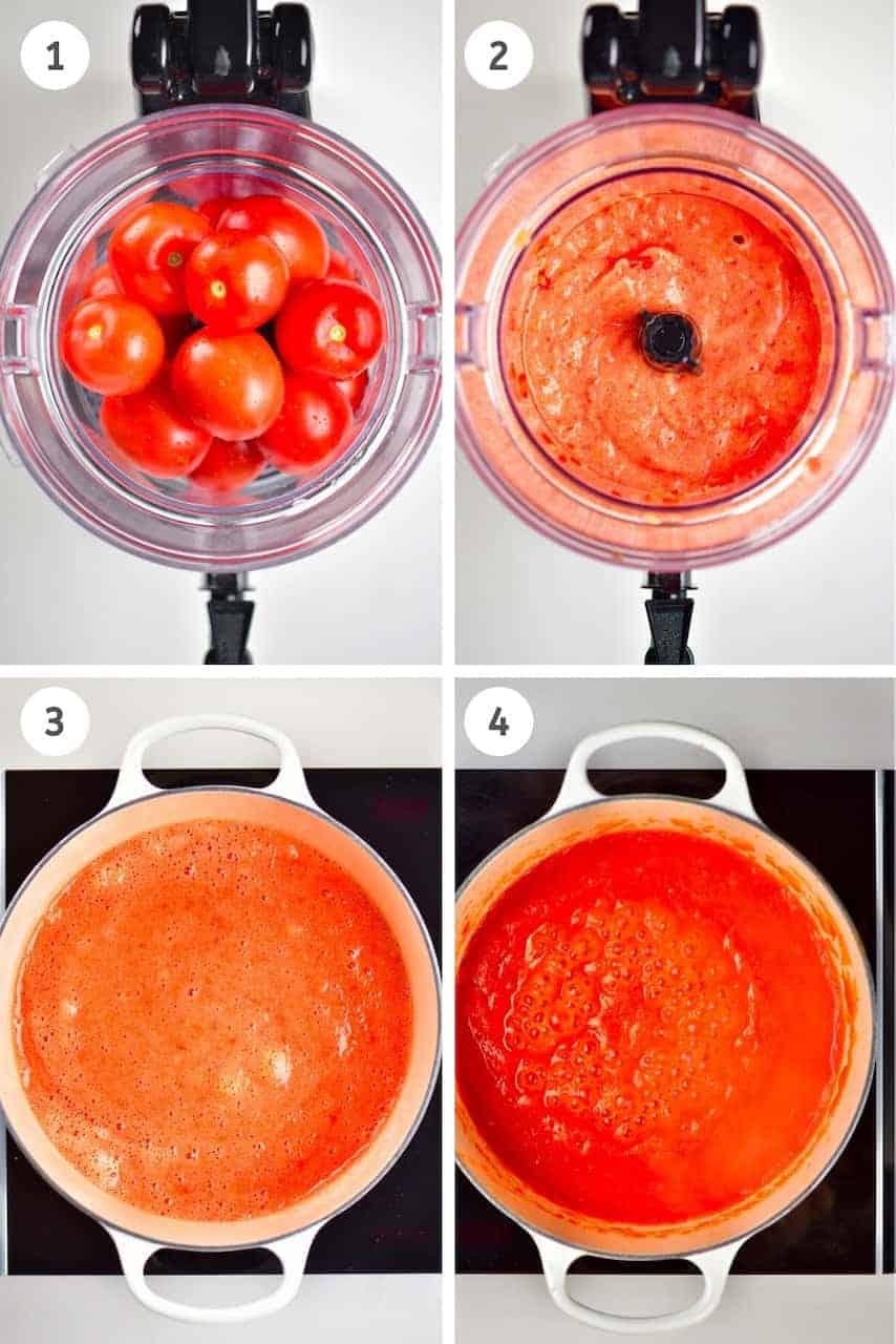 Tomato passata steps