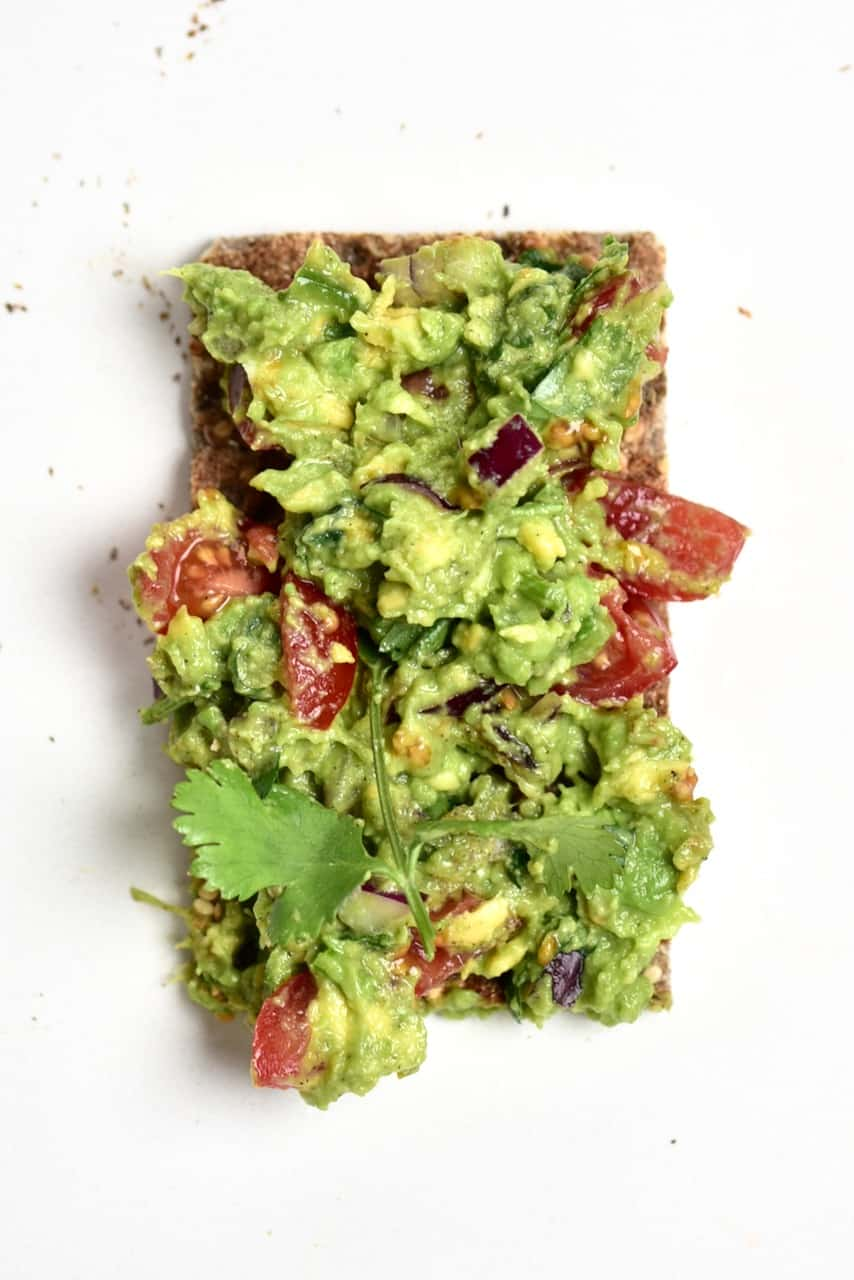 Close up of guacamole on toast