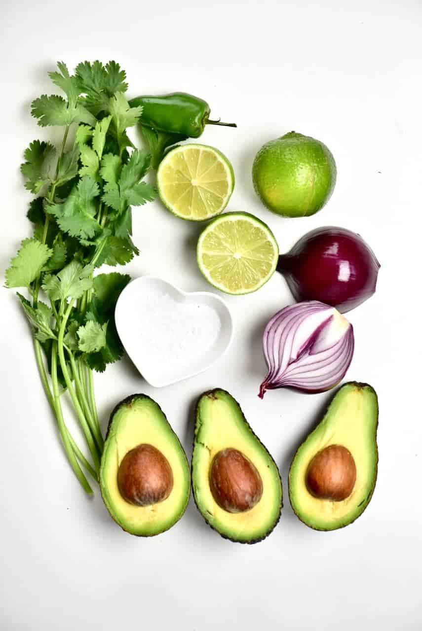 Ingredients for Traditional Mexican Guacamole