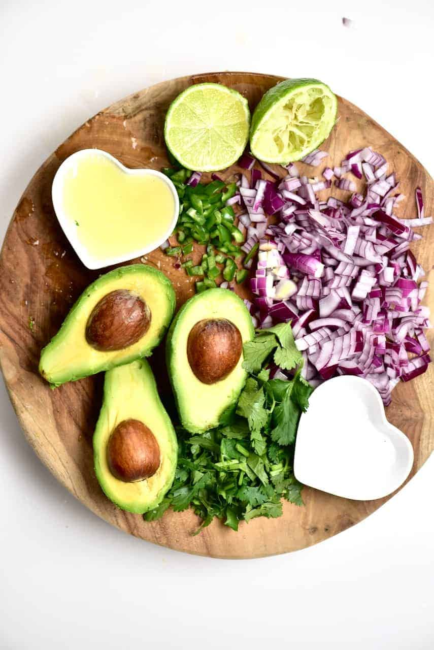 Chopped veggies for Ingredients for Traditional Mexican Guacamole