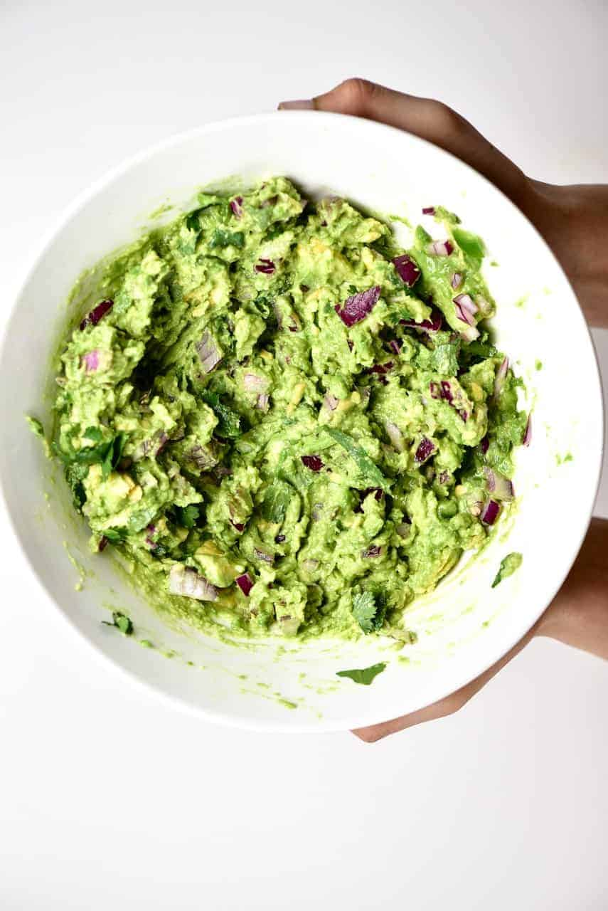 Mixed ingredients for Traditional Mexican Guacamole