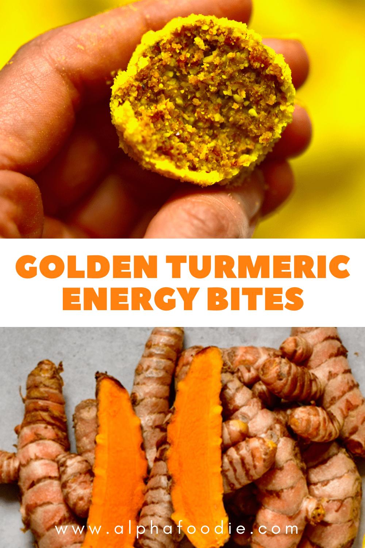 Turmeric energy Bites and fresh turmeric