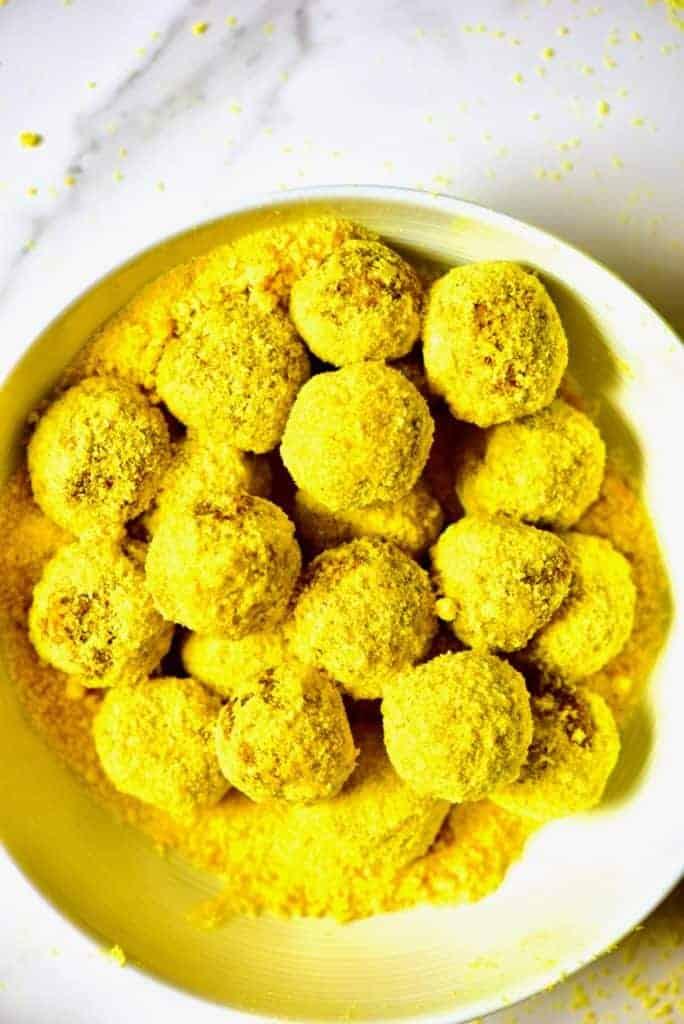 A bowl of Turmeric Energy Ball