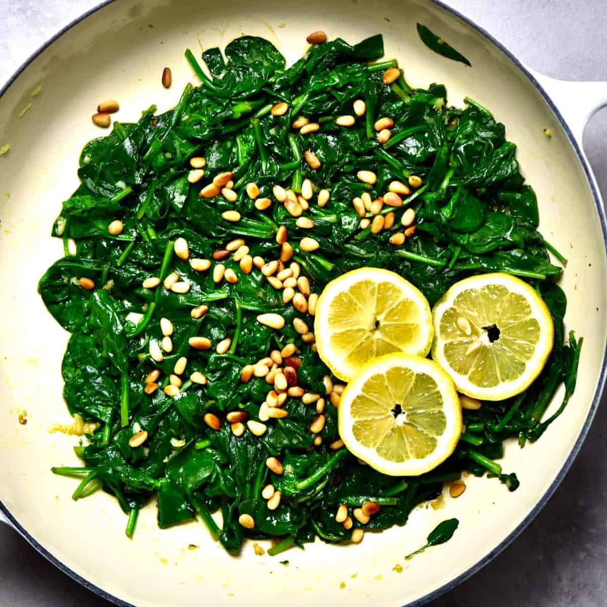 Square image of sautéed spinach