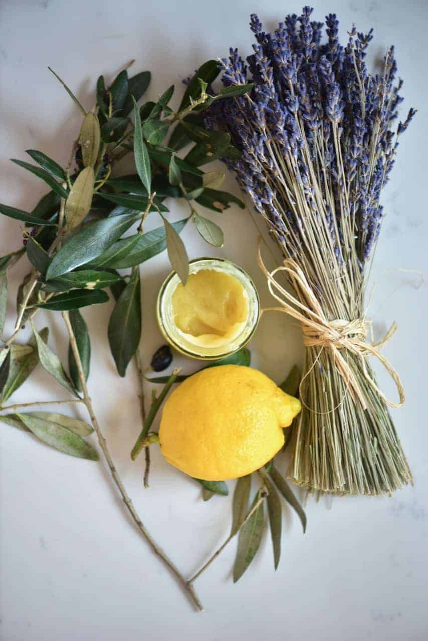 Homemade natural hand soothing balm with lavender and olives
