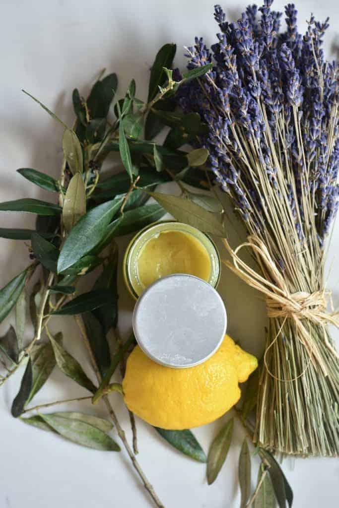 Homemade natural hand moisturiser with lemon lavender and olive