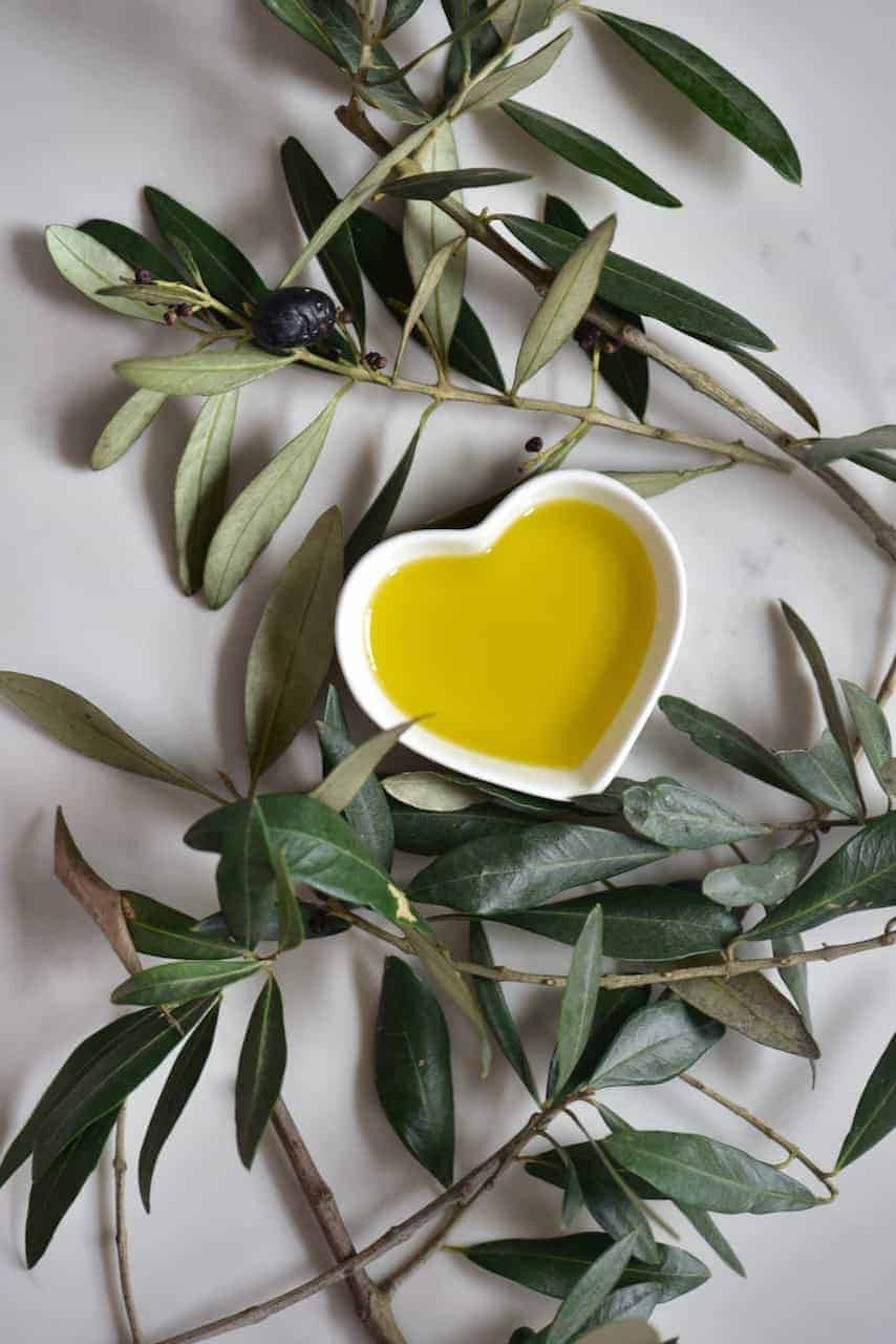 Olive oil in a little bowl