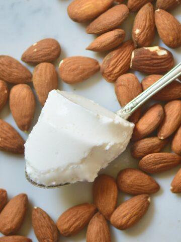 square photo homemade almond milk yogurt