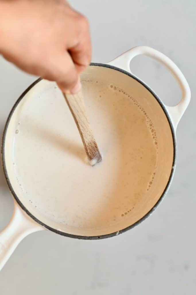 Stirring almond milk