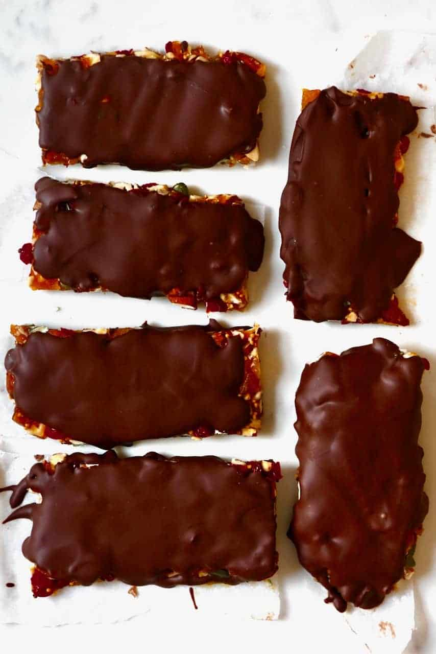 Chocolate covered fruit nut bars