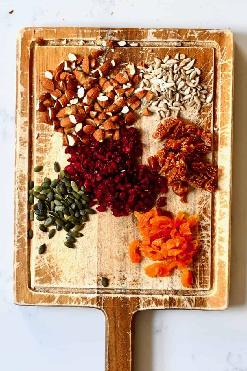 Chopped nuts and dried fruit